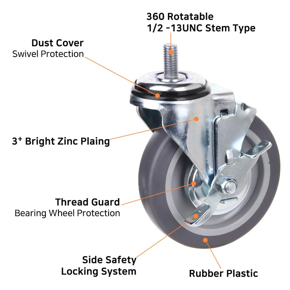 Pack of 4 Load Capacity -650 Lbs Per Caster Unversal Fit T503S-4 All Swivel 1//2-13UNC1 Stem Caster Wheels with Rubber Plastic Wheels 3inch Light-Medium Duty Casters T-REX CASTER LN