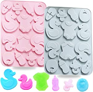 2 Pack Cute Baby Silicone Molds, 3D Baby Shower Themed Baking Mould, Cake Border Fondant Molds Cake Decorating Tools for Chocolate, Candy,Gumpaste Molds