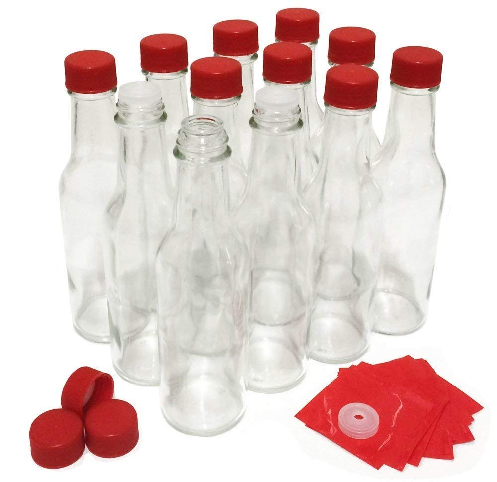 Hot Sauce Bottles with Red Caps & Shrink Bands, 5 Oz - Case of 12 by nicebottles