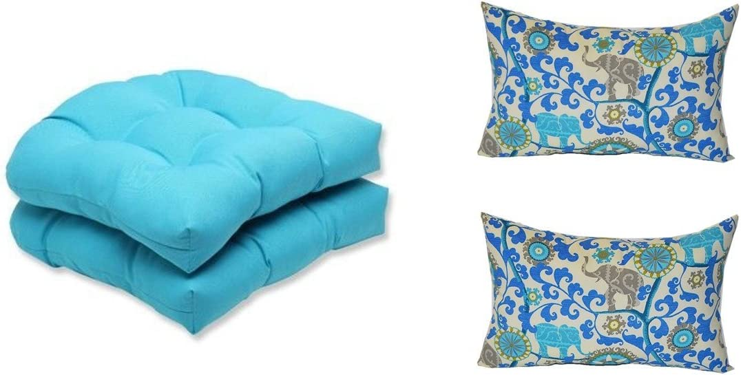 Set of 2 – Indoor Outdoor Cancun Blue Tufted U-shape Cushions for Wicker Chair Seats 2 Free Sapphire Blue, Turquoise, Green, Gray Bohemian Elephant Menagerie Sapphire Lumbar Pillows
