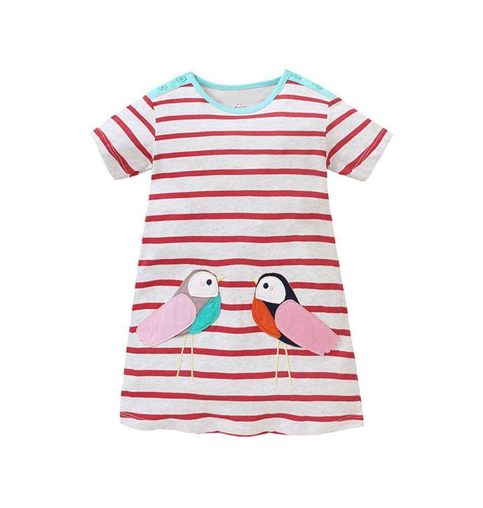 HILEELANG Toddler Girls Summer Cotton Short Sleeves Applique Casual Striped Dresses