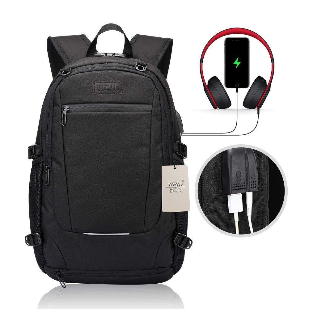 Zaino per PC Portatile Impermeabile da Uomo Borsa Universitaria Daypack per La Scuola Scuola Nero-1 Business. WAWJ Unisex Multiuso Antifurto Zaino con Porta USB