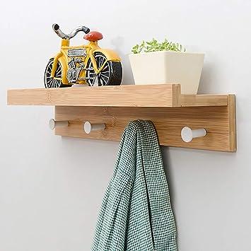 Perchero de pared y gancho de bambú, estante superior ...