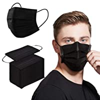 Face Mask 100PCS Adult Black Disposable Masks 3-Layer Filter Protection Breathable Dust Masks with Elastic Ear Loop for…