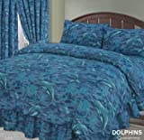 Dolphin, Sea / Ocean / Waves / Splash Blue, King Size Bed Duvet / Quilt Cover + Fitted Valance Sheet + 2 Pillowcases Complete Bedding Set by NovelTex
