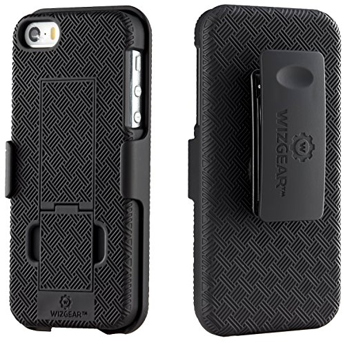 (WizGear Shell Holster Combo Case for Apple iPhone Se / 5 / 5S with Kick-Stand and Belt Clip - (Fits Att, Verizon, T-Mobile Sprint))