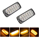 CALAUS Universal 12 LED 32-Flashing Mode Car Truck Warning Caution Emergency Construction Strobe Light Bar, Sync-able Between Multiple Units - Amber (2pcs)