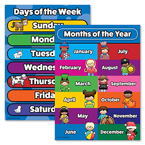 Day Poster - Days of the Week & Months of the Year Poster Chart Set - LAMINATED - Double Sided (18x24)