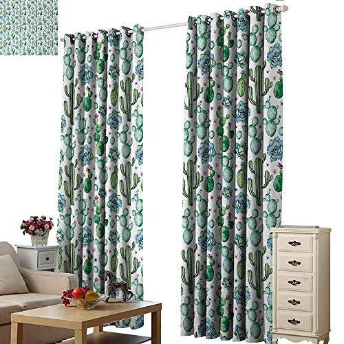 Homrkey Exquisite Curtain Cactus Hand Painted Style Exotic Plant Collection Saguaro Prickly Pear Succulents Spikes Light Blocking Drapes with Liner W108 xL96 Multicolor
