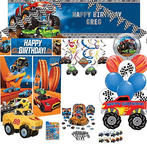 Birthday Party Set :: Ya Otta Monster Truck Pinata bundled with Hotwheels Birthday Party Supplies and an eBook with Kids Birthday Party Games | Style 2 -