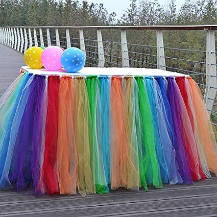 l'ultimo a1f9f b14f9 yunhigh tutu tulle gonne da tavolo per rettangoli e tavoli rotondi baby  shower decorazione tovaglia per matrimonio compleanno feste di natale  decor- ...