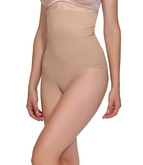 e8382571df152 BOMIMI Women s Shapewear High Waist Panty Tummy Control Panties Seamless Body  Shaper Beige