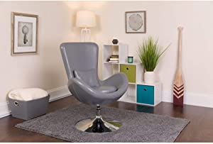 Flash Furniture Gray Leather Egg Series Chair