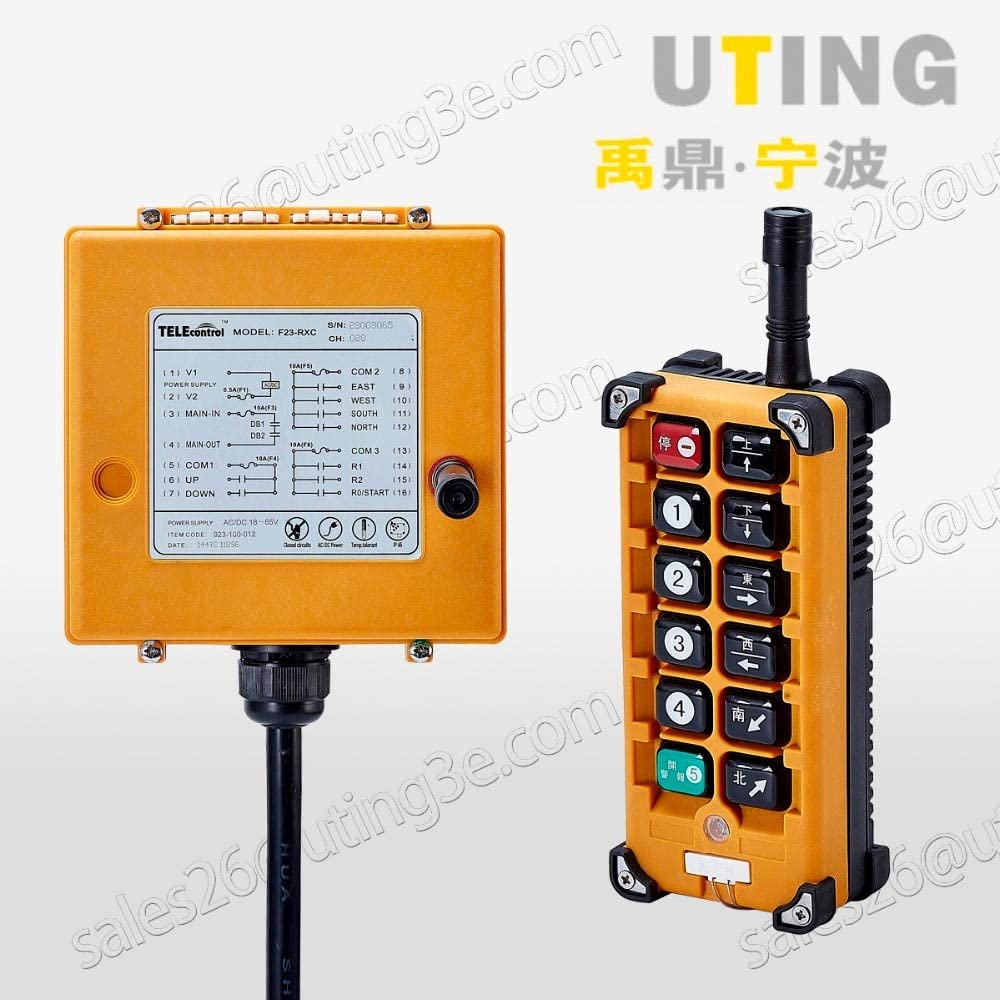 Calvas Telecontrol F23-A+ industrial radio remote control AC//DC universal wireless control for crane 1transmitter and 1receiver Color: 18to65V VHF310to331