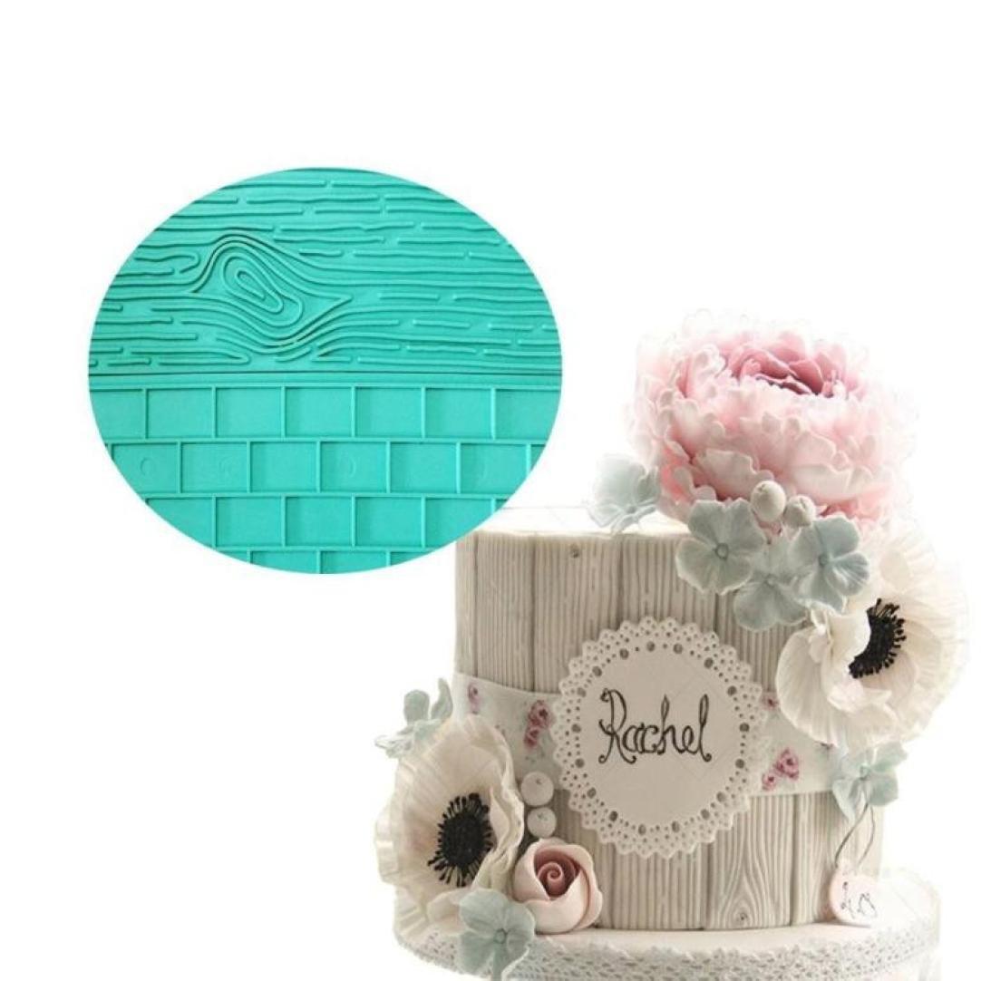 Molyveva 3D Silicone Bark Shape Chocolate Cake Fondant Mould Baking Sugarcraft Decorating Mold Tools,Green
