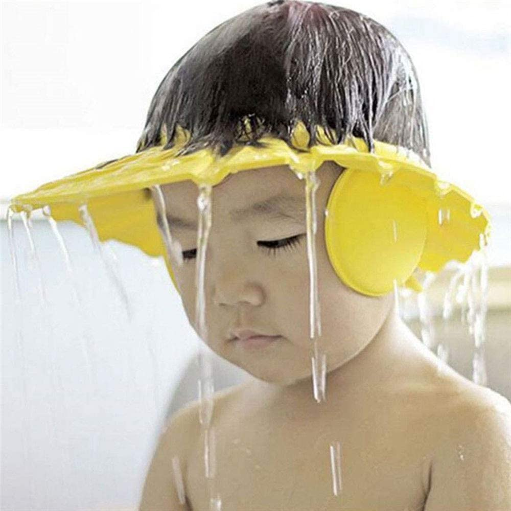 Shower Bathing Protection Hat Wash Hair Shield for Toddler Baby Children /& Kids to Keep The Water Out of Eyes/&Face,Yellow,with Ear Shampoo Protection Cap