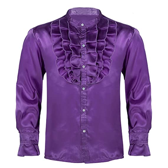 IEFIEL Camisa Gótica Vintage para Hombre Camisa Jabot Ruffles de ...