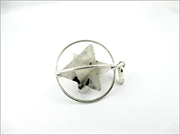 Jet Rutilated Quartz Spinning Star Merkaba Pendant 1 inch Jet International Crystal Therapy 40 Page Booklet