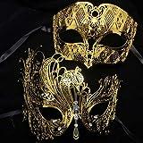 Labu Store Black Silver Gold Phantom Metal Laser Cut Couple Party Mask Lot Filigree Wedding Venetian Masquerade Ball Mask Lover Costume Set