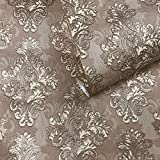 10m old retro vintage style paper Slavyanski Wallpaper double rolls wallcoverings textured victorian pattern patterned 3D modern textures brown tan bronze gold metallic damask wall covering sparkle 3D