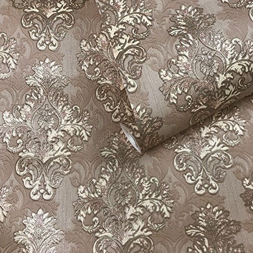 10m old retro vintage style paper Slavyanski Wallpaper double rolls wallcoverings textured victorian pattern patterned 3D modern textures coffee brown tan bronze gold metallic damask wall coverings 3D ()