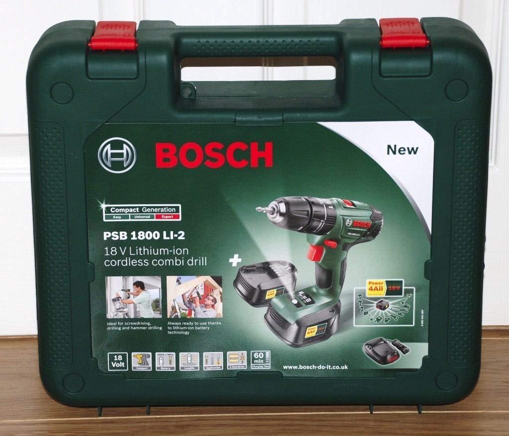Bosch Genuine Carry Case (VERSION To Fit: Bosch PSB 1800 Li-2 Lithium-Ion Cordless Hammer/Impact Drill) c/w STANLEY KeyTape + Cadbury Chocolate Bar BOSCH Tools Bosch Carry Case (for PSB 18-Li2)