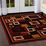 "Home Dynamix Premium Nikola Area Rug by Mid-Century Modern Style Rug | Contemporary Art Deco Square Pattern with Border | Red, Brown, Beige 3'7"" x 5'2"""