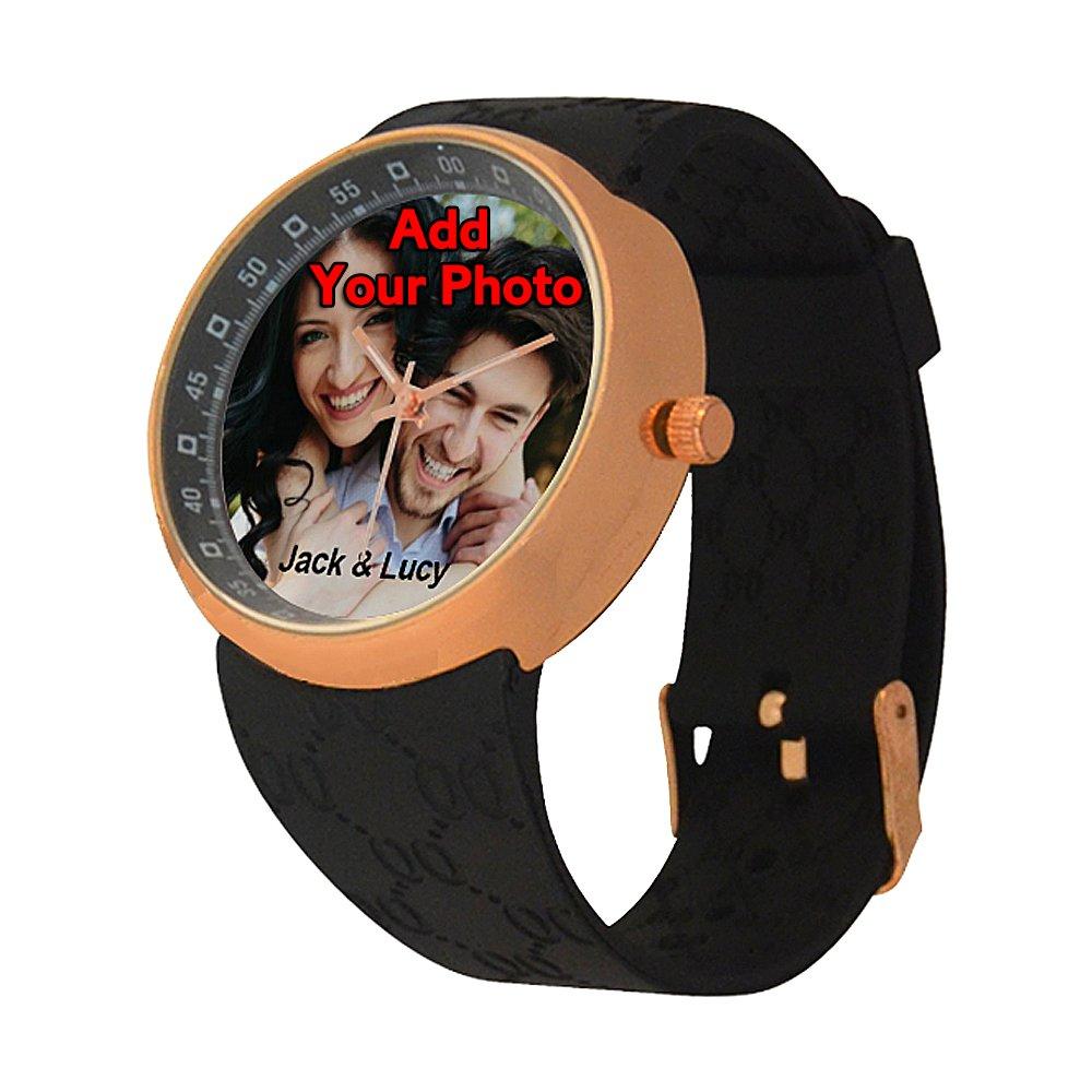カスタムMadeローズGlod男性用時計Youth BoyfrendデザインYourフォトまたは名前 ブラック B079DSVK71  ブラック