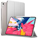 ESR iPad Pro 11 ケース Apple Pencilのペアリングとワイヤレス充電対応 iPad Pro 11 カバー 軽量 薄型 PUレザー 三つ折スタンド オートスリープ機能 2018年秋発売のiPad Pro 11インチ専用(グレー)