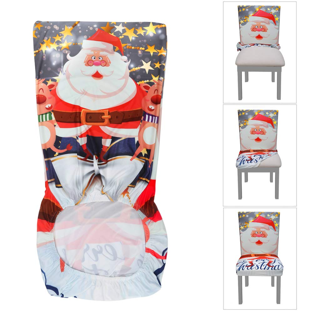 Dining Chair Slipcovers Home Yisun Stretch Dining Chair Covers Spandex Removable Washable Chair Protector Cover 4 Pack Santa Claus Pattern Chair Slipcover For Kitchen Dining Room Chairs And Living Room