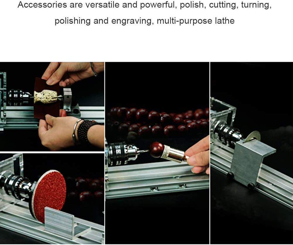 S SMAUTOP Mini Drehmaschine Perlen Polierer Maschine DIY Poliermaschine DIY Rotary Tool Set f/ür das Holzhandwerk 24V 80W Serienausstattung