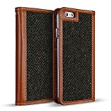 DesignSkin IP6WBTW4303 iPhone 6S/6 Case (4.7'') Wetherby Tweed 100% Handcrafted Genuine Leather with Fine Tweed Unique Design ID Credit Card Slot Paper Bill Storage Wallet Case - Herringbon/Khaki