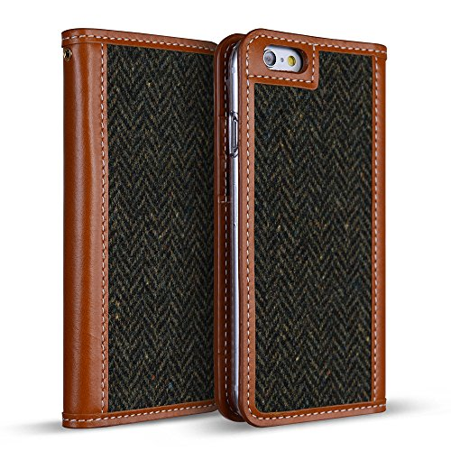 DesignSkin IP6WBTW4303 iPhone 6S/6 Case (4.7'') Wetherby Tweed 100% Handcrafted Genuine Leather with Fine Tweed Unique Design ID Credit Card Slot Paper Bill Storage Wallet Case - Herringbon/Khaki by DesignSkin