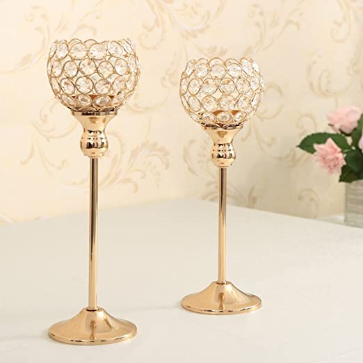 Christmas Tablescape Decor - Christmas Gold Crystal Candle Holder Set of 2