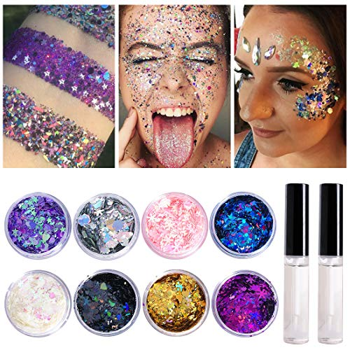 8 Jars of Cosmetic Chunky Glitter Shimmer Body Face Hair Eye Musical Festival Carnival Dance Halloween Party Beauty Makeup Temporary Tattoos Multicolored (40g/1.4oz)+FREE Quick Dry Glitter Glue(10ml) for $<!--$6.99-->