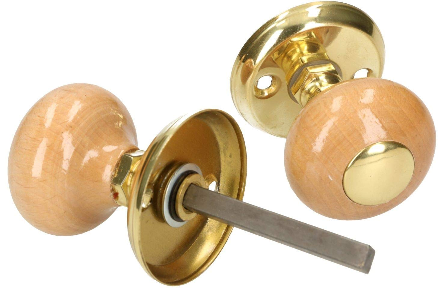 Pomo giratorio para puerta KOTARBAU color dorado con perno de bola de lat/ón redondo color marr/ón de madera