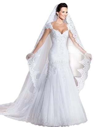 Ikerenwedding Womens Lace Trailing Mermaid Wedding Dress With Veil And Gloves White US02
