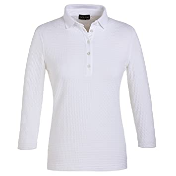 f1bc0e7b GOLFINO 3/4 sleeve jacquard polo shirt with exclusive texture White ...