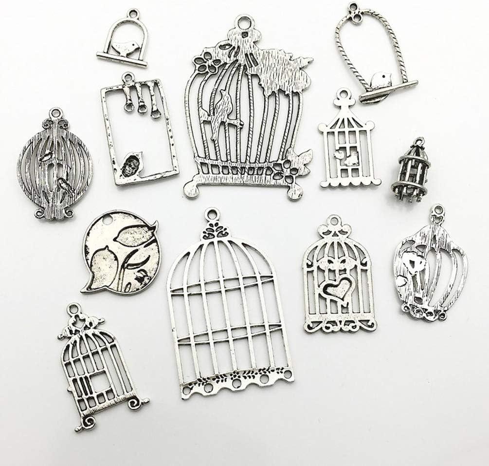 SUPVOX 36pcs pendentifs Cage /à Oiseaux charmes Assortis Breloques Bijoux Bricolage Fabrication Accessoire pour Collier