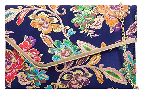 Handbags Navy Girly Bag Baroque Clutch Flowers FSnnw4qU