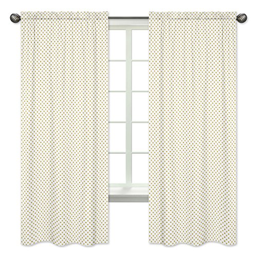 Collection Bedding Dots - Sweet Jojo Designs 2-Piece Gold and White Polka Dot Window Treatment Panels Curtains for Amelia Bedding Collection
