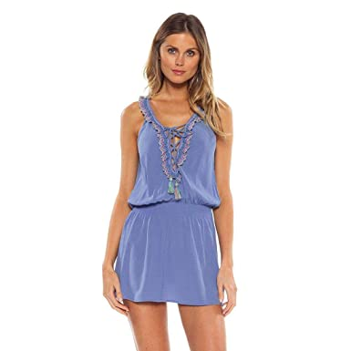 d816bfd53a Becca by Rebecca Virtue Women's Lace Up Tassel Tank Dress Swim Cover Up at  Amazon Women's Clothing store: