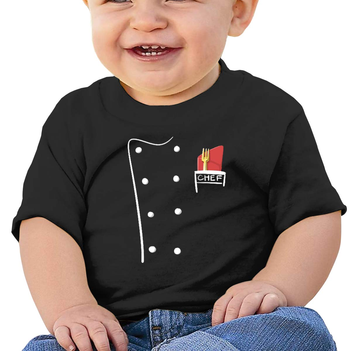 MONIKAL Unisex Infant Short Sleeve T-Shirt Cute Chef Top Chef Toddler Kids Organic Cotton Graphic Tee Tops