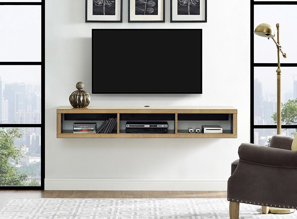 Martin Furniture IMSE360B Floating TV Console, 60'', Burka Bark