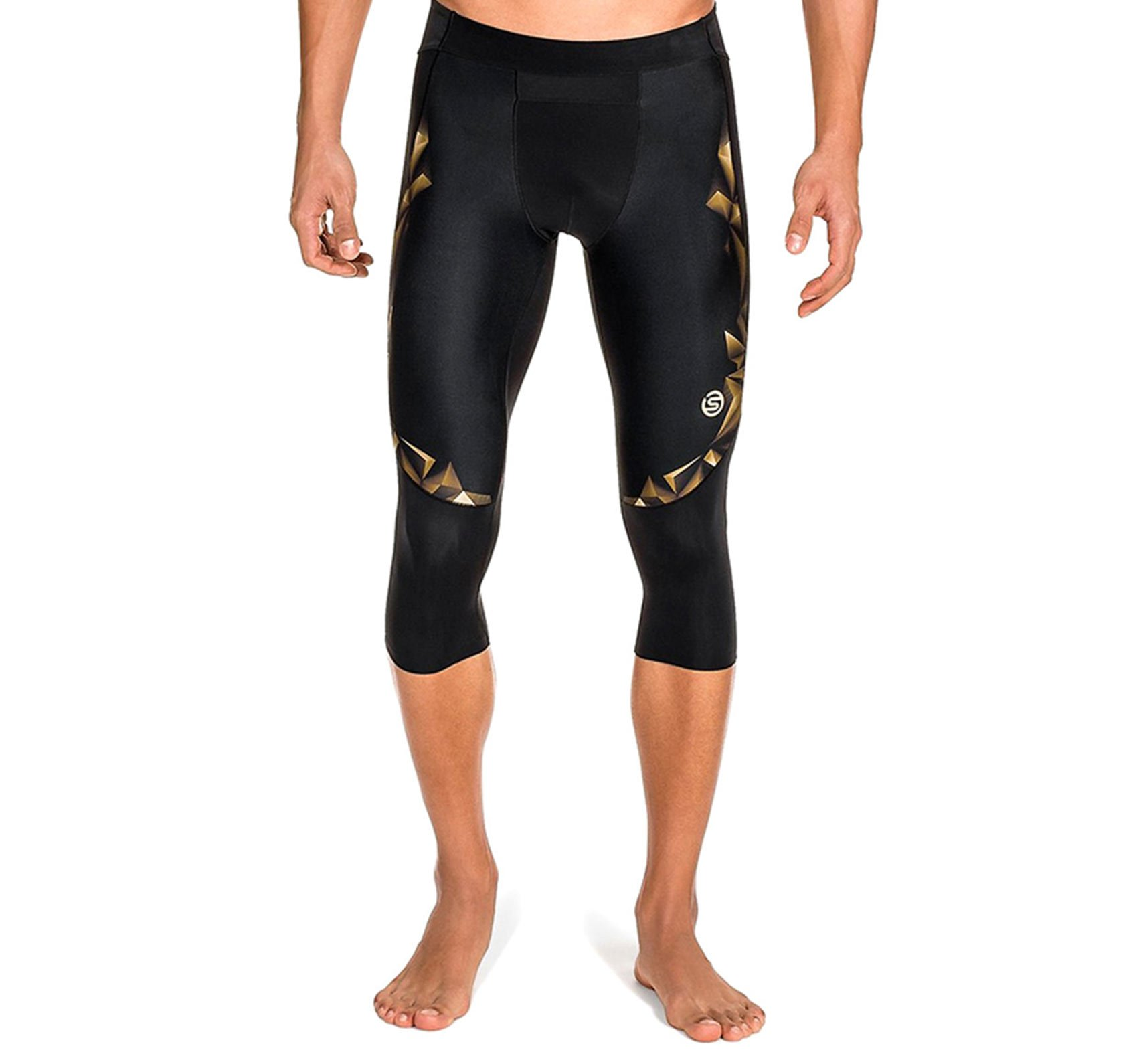 Skins Men's A400 Compression 3/4 Tights, Black/Gold, Small