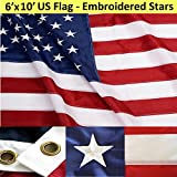 ANLEY® [Heavy Duty] American US Flag 6x10 Foot Nylon - Embroidered Stars and Sewn Stripes - 4 Rows of Lock Stitching - USA Banner Flags with Brass Grommets 6 X 10 Ft
