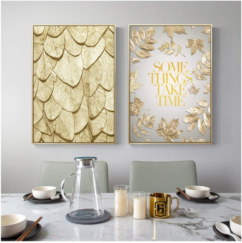 artppolr 2pcs Modern Gold Abstract Leaf Poster Home Decor Nordic Canvas Painting Wall Art Print Minimalist Luxury for Living Room 50x70cm No Frame