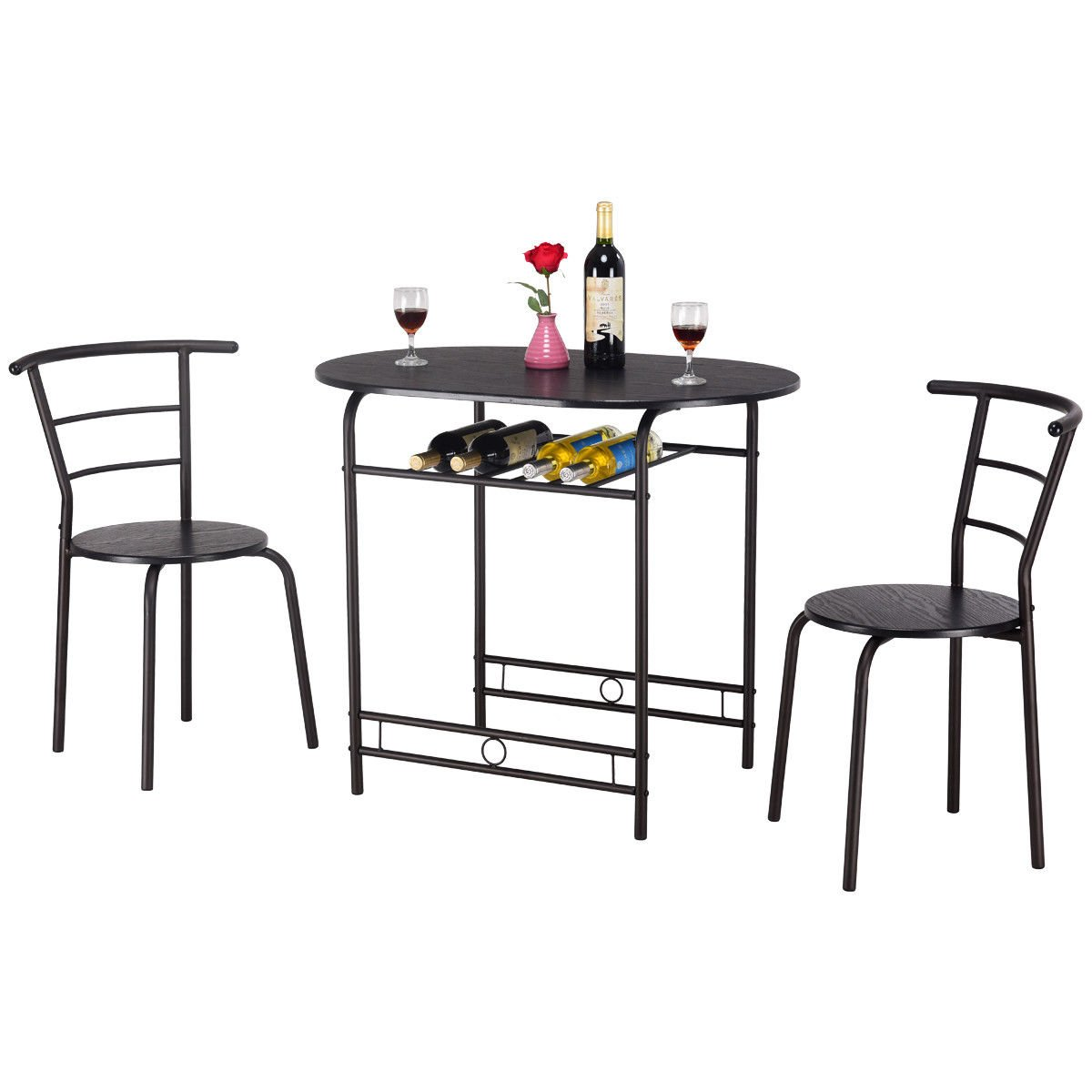Giantex 3 PCS Dining Table Set w/ 1 Table and 2 Chairs Home Restaurant Breakfast Bistro Pub Kitchen Dining Room Furniture (Black)