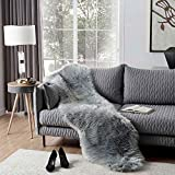 OJIA Deluxe Soft Faux Sheepskin Chair Cover Seat Pad Plain Shaggy Area Rugs for Bedroom Sofa Floor (2ft x 6ft, Grey)