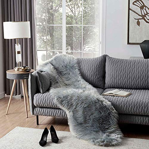 Ojia Deluxe Soft Faux Sheepskin Chair Cover Seat Pad Plain Shaggy Area Rugs for Bedroom Sofa Floor (2ft x 5ft, Grey)